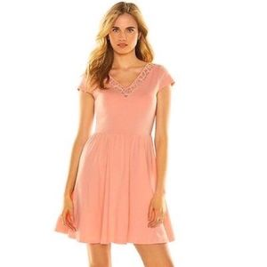 LC LAUREN CONRAD Dress Coral Lace Fit & Flare S